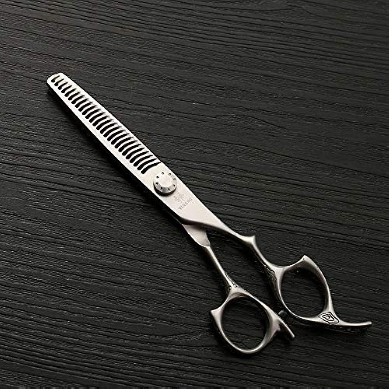 市の中心部原因説教する理髪用はさみ 新しいスタイル6インチ美容院プロのヘアカット間伐歯はさみ、26歯アントラー歯理髪はさみヘアカット鋏ステンレス理髪はさみ (色 : Silver)