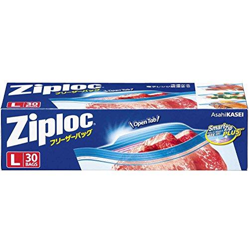 ジップロック フリーザーバッグ ジッパー付き保存袋 冷凍・解凍用 Lサイズ 30枚入 (縦27.3cm×横26.8cm)