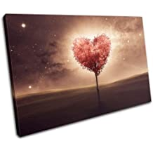 Bold Bloc Design - Heart Bedroom Romantic Night Love 75x50cm Single Canvas Art Print Box Framed Picture Wall Hanging - Hand Made in The UK - Framed and Ready to Hang 13-0616(00B)-SG32-LO-C