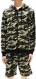 (マルカワジーンズパワージーンズバリュー) Marukawa JEANS POWER JEANS VALUE スウェット 上下セット セットアップ メンズ パーカー ショートパンツ ハーフパンツ 迷彩 3color L オリーブ