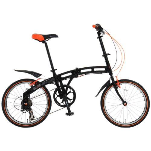 DOPPELGANGER(ドッペルギャンガー) 202 blackmax 20インチ 折りたたみ自転車【軽量アルミフレーム】シマノ 7段変速 高速52Tチェーンホイール Vブレーキ 12.1kg SGマーク/LEDライト/鍵/泥除け/スタンド付 blackmaxシリーズ