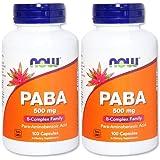 [海外直送品][2本セット] NOW Foods PABA(パラアミノ安息香酸) 500mg 100粒