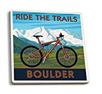 Mountain Bike–Boulder、コロラド州 4 Coaster Set LANT-31049-CT