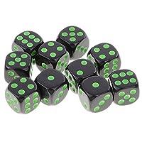 全3色 10個 D6ダイス 6面サイコロ セット デジタルダイス  - グリーンブラック