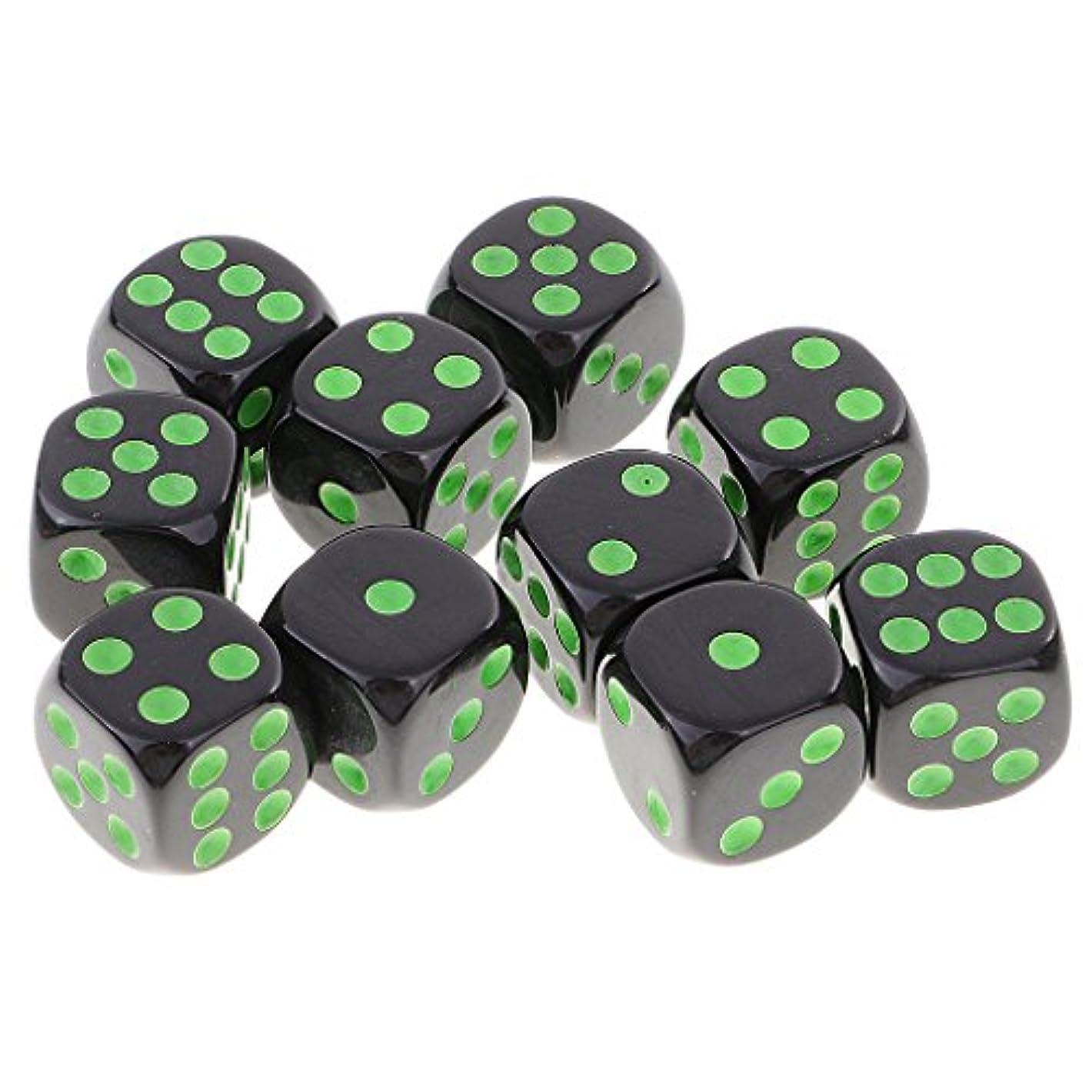 姿勢学校カテゴリー全3色 10個 D6ダイス 6面サイコロ セット デジタルダイス  - グリーンブラック