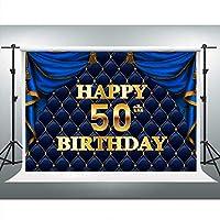 LSVV702 ゴールドハッピー50歳の誕生日用背景幕 7x5フィート ブルーカーテン タフテッド背景 誕生日パーティーデコレーション 写真ブース小道具