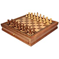 Yugoslavia Staunton Chess Set in Golden Rosewood & Boxwood with Walnut Chess Case - 3.25 King by The Chess Store [並行輸入品]