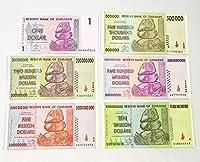 ジンバブエドル 6枚セット (1/50万/2億/5億/50億/10兆 ジンバブエドル) ハイパーインフレ紙幣
