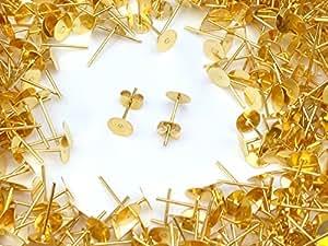 【ピンクゴールド通販広場】(皿のサイズ)4mm ピアス ゴールド 平皿タイプ×ゴールドキャッチセット 20個 (10ペア) キャッチ改良版