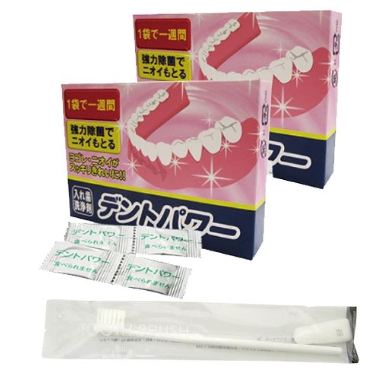 冊子ペインぬるいデントパワー 入れ歯洗浄剤 10ヵ月用(専用ケース無し) x2個 + チューブ歯磨き粉付き歯ブラシ セット