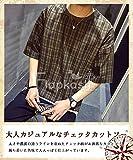 [Flapkash(フラップカッシュ)] フェイクレイヤード チェックカットソー カジュアル シンプル 半袖 春 夏 メンズ 画像