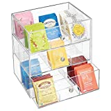 mDesign Plastic Kitchen Pantry, Cabinet, Countertop Organizer Storage Station with 3 Drawers for Coffee, Tea, Sugar Packets, Sweeteners, Creamers, Drink Pods, Packets - 27 Sections - Clear