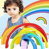 JVSISM カラフルな木製ブロックのおもちゃ 創造的な虹組立ブロック 幼児子供教育 赤ちゃんユニセックスのおもちゃ