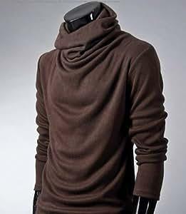 ONE LIMITATION(ワン リミテーション) メンズ タートルネック 長袖 スタイリッシュ アフガン カットソー ロング Tシャツ ON_TN001 (ブラウン,M)