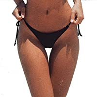 Beauty7 Women V Cut Brazilian Bikini Bottom Thong Side Tie Bow G String Swimsuit