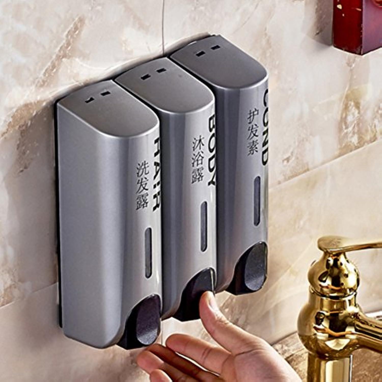 ソープディスペンサー、バスルーム3つソープディスペンサーソープディスペンサー手動で液体soap-box壁液体ソープボトル GFKHGJFC