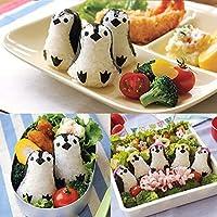 ペンギンライスロールスーツ型kimbap寿司海苔パンチパッドdiyプラスチックライスボール金型弁当ビスケットカッター調理ツール