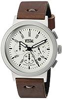 Vestal Men 's ' retrofocusクロノMakers ' QuartzステンレススチールandレザーDress Watch, Color : Brown (Model : retmak003)
