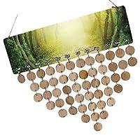 Baosity 木製カレンダーボード 50枚のディスク 50個のアセンブリフック DIY 手作り 木製 記念日 誕生日 母の日 パーティー 5タイプ選べ - タイプ4