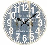 チンプンチャンプン ウォール クロック 壁 かけ 木 製 時計 インテリア 雑貨 ライト ブルー
