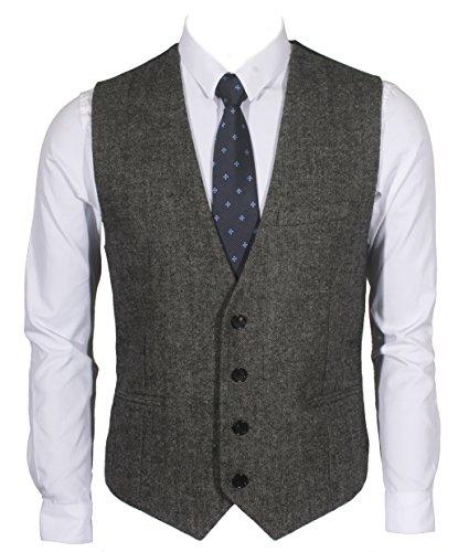 """[해외]Ruth &  Boaz 남성 비즈니스 정장 모직 """"헤링본"""" """"트위드""""3 포켓 4 버튼 베스트 (S ~ XXXL)/Ruth & Boaz Men`s business suit wool """"herringbone"""" """"tweed"""" 3 pocket 4 button best (S ~ XXXL)"""