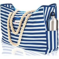 Beach Bag XXL. 100% Waterproof. L22 xH15 xW6 (56x38x15cm) w Rope Handles, Top Magnet Clasp, Outside Pockets. Blue Stripes Shoulder Beach Tote Includes Phone Case, Built-in Key Holder, Bottle Opener