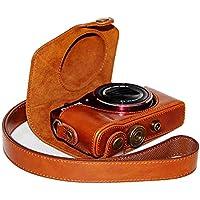 FIRST2SAVVV 褐色 Canon PowerShot SX710 HS Sx700 HS 専用 PU 半分レザー レフ カメラバッグ カメラケース XJPT-SX710-09
