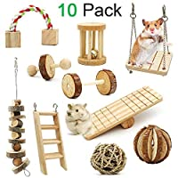 ZALALOVA Hamster Chew Toys 10 Pack Natural Wooden Pine Guinea Pigs Rats Chinchillas Toys Accessories Dumbells Exercise Bell Roller Teeth Care Molar Toy for Birds Bunny Rabbits Gerbils [並行輸入品]