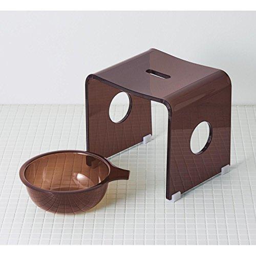 アクリル製バスチェア&風呂桶セット  ブラウン