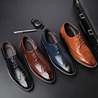 Men Fashion Business Oxford Shoes Casual Leather Pointed Toe ShoesWedding Lace Up Dress Bullock Shoes US 6-13 / EUR 38-48(Yellow,11)