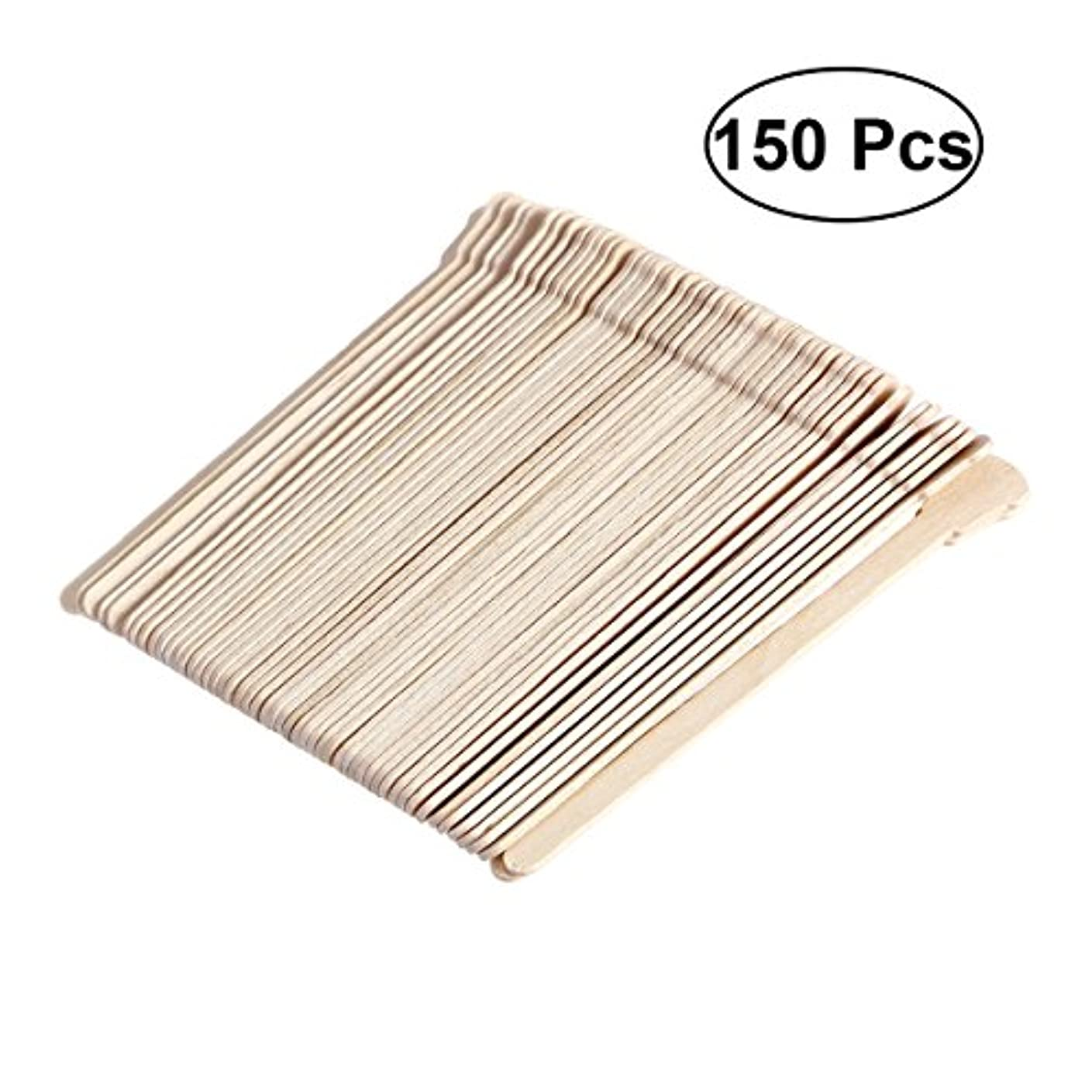 日曜日輪郭憂鬱SUPVOX 150ピース木製ワックススティックフェイス眉毛ワックスへら脱毛(オリジナル木製色)