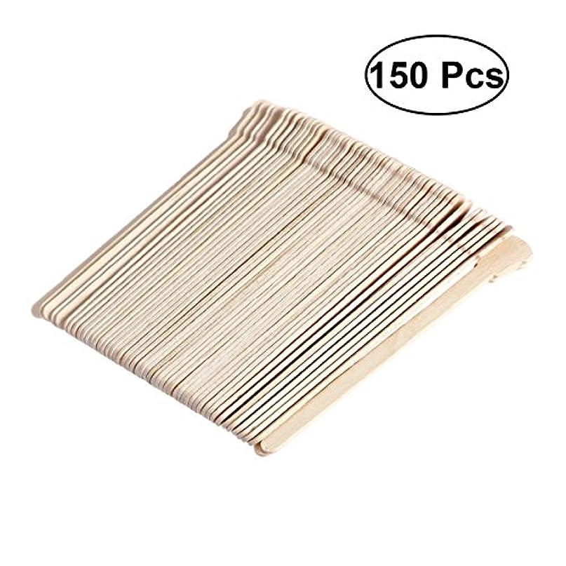 暴露昇進カフェSUPVOX 150ピース木製ワックススティックフェイス眉毛ワックスへら脱毛(オリジナル木製色)