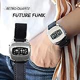 (フューチャーファンク)FUTURE FUNK アナログデジタルクオーツスクエア腕時計 F シルバー