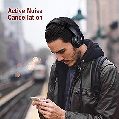 TaoTronics Active Noise Cancelling Bluetooth Earphones, Bluetooth Headphones HiFi Stereo Wireless Over Ear Deep Bass Headset w/CVC Noise Canceling Microphone 30 Hour Playtime for Travel Work TV