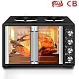 MIC 45L Convection Oven with 2 Hotplates Hot Plates Benchtop Toaster Rotisserie French Door Grill Coating Material Oven - Black