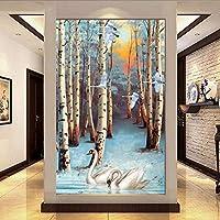 Wuyyii 写真3Dの壁紙3Dの白鳥は居間Tvの背景の壁の壁画のための湖の壁カバーで泳ぎます-250X175Cm