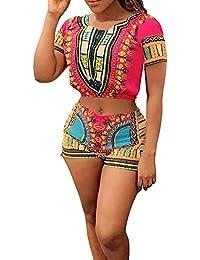 jiujiuyiレディース半袖African Tribal Print Crop Top and Shorts Set