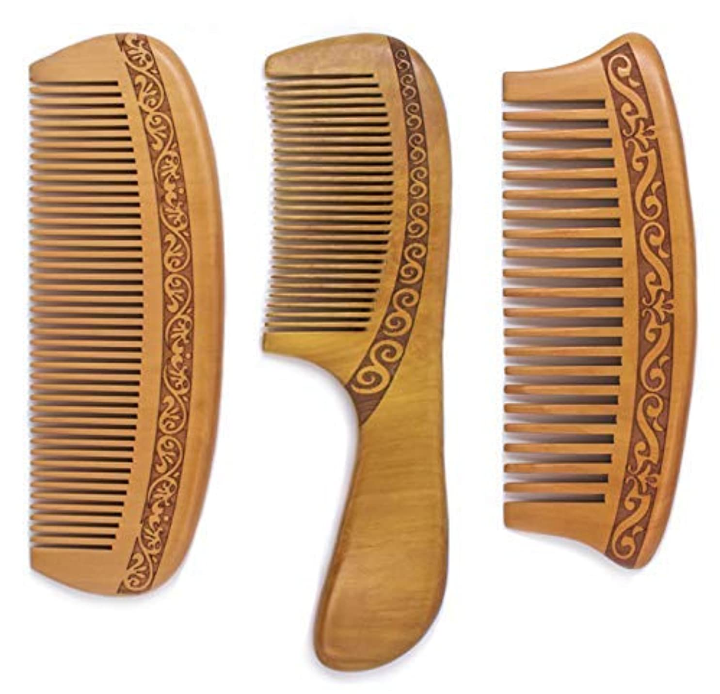樫の木拾う引数Detangling Comb, Wooden Detangling Fine and Wide Tooth Shower Comb SET, Anti-Static, Great for All Type Hair,...