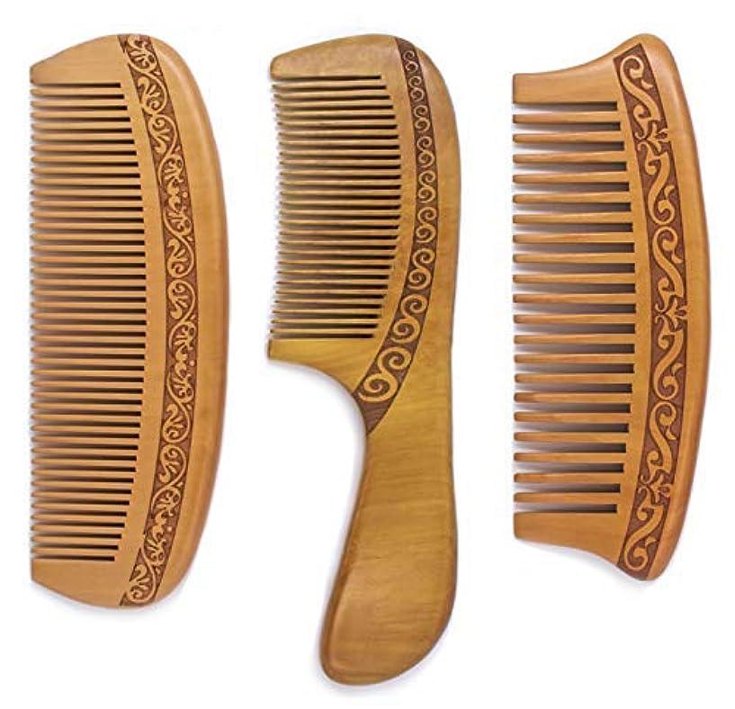 宗教的なクリップ高速道路Detangling Comb, Wooden Detangling Fine and Wide Tooth Shower Comb SET, Anti-Static, Great for All Type Hair,...