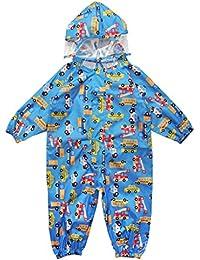 キッズ雨具、かわいいキッズレインコート 上下セット 女の子 男の子レインコート ブルー M(90-105cm)