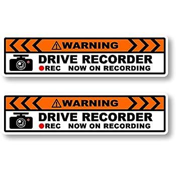 Carbay ドライブレコーダー NOW ON RECORDING ステッカー シール 2枚セット 14×3.5㎝ Sサイズ 英 耐水 耐候 説明書付 あおり運転対策