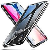 iPhone X ケース クリア ESR iPhone X ソフトカバー 透明TPU [ガラス面へのスクラッチ防止][落下防止][黄変防止][薄型 軽量][QI充電対応] iPhone X 専用カバー(iPhoneX,ライトブラック)