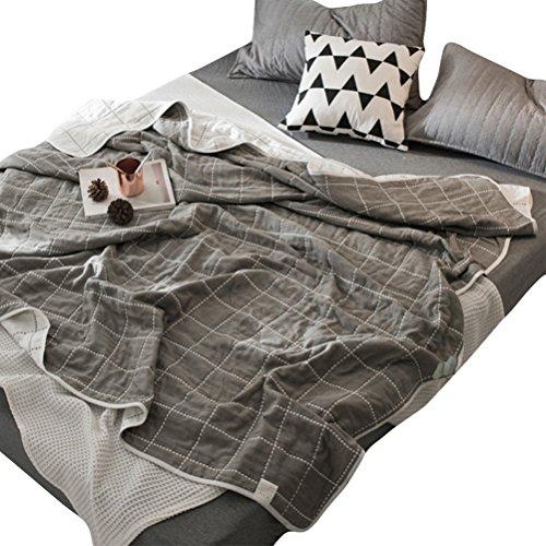Skazi 六重タオルケット 綿100% ホコリが出にくい ふわふわ 吸湿性 抗アレルギー 防ダニ 肌にやさしいガーゼケット ドットライン柄グレー(セミシングル:120×150cm)