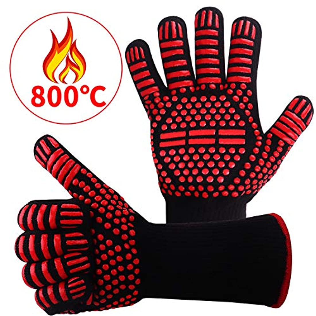 援助罹患率迅速耐熱グローブ バーベキューグローブ 耐熱 手袋 最高耐熱温度800℃ 滑り止め 左右兼用 着脱簡単 5本指グローブ 調理道具 bbq 電子レンジ オーブン に最適 2枚セット (800℃)