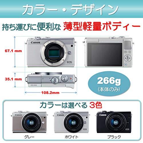Canon ミラーレス一眼カメラ EOS M100 EF-M15-45 IS STM レンズキット(グレー)EOSM100GY1545ISSTMLK