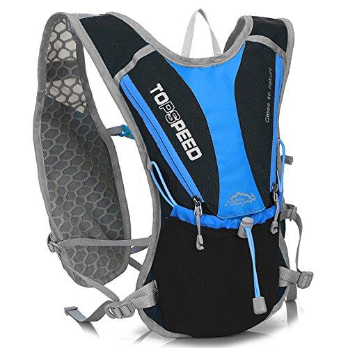 OUTDOOR LOCAL LION ハイドレーションバッグ ランニング サイクリングマラソン超軽量 自転車 リュック 5L 7色 (ブラックブルー(水袋なし))
