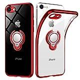 iPhone8 ケース/iPhone7 ケース リング 透明 クリア リング付き tpu シリコン スリム 薄型 4.7インチ スマホケース 耐衝撃 ストラップメッキ加工防止 アイフォン8ケース 一体型 人気 携帯カバー レッド
