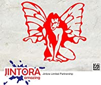 JINTORA ステッカー/カーステッカー - Sitting Butterfly Girl - 座っている蝶の女の子 - 96x89mm - JDM/Die cut - 車/ウィンドウ/ラップトップ/ウィンドウ- 赤