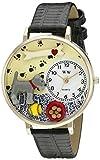 シュナウザー 黒レザー ゴールドフレーム時計#G0130066