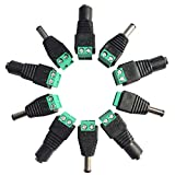 Kabenjee 10個 2.1mmx5.5mm DC 12V電源アダプタクイックコネクタネジ端子アダプタCCTVカメラとLEDテープライト用DCジャック変換プラグ、半田付けなしで簡単に接続ができました(5 メス + 5 オス)